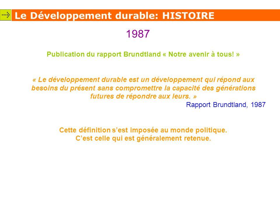 1987 Le Développement durable: HISTOIRE