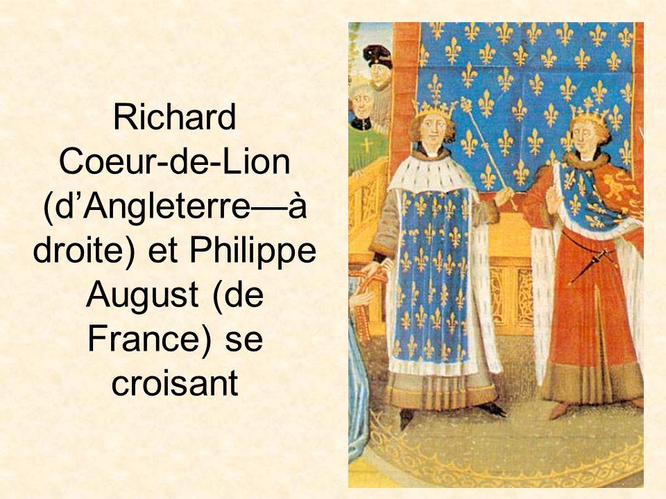 Richard Coeur-de-Lion (d'Angleterre—à droite) et Philippe August (de France) se croisant