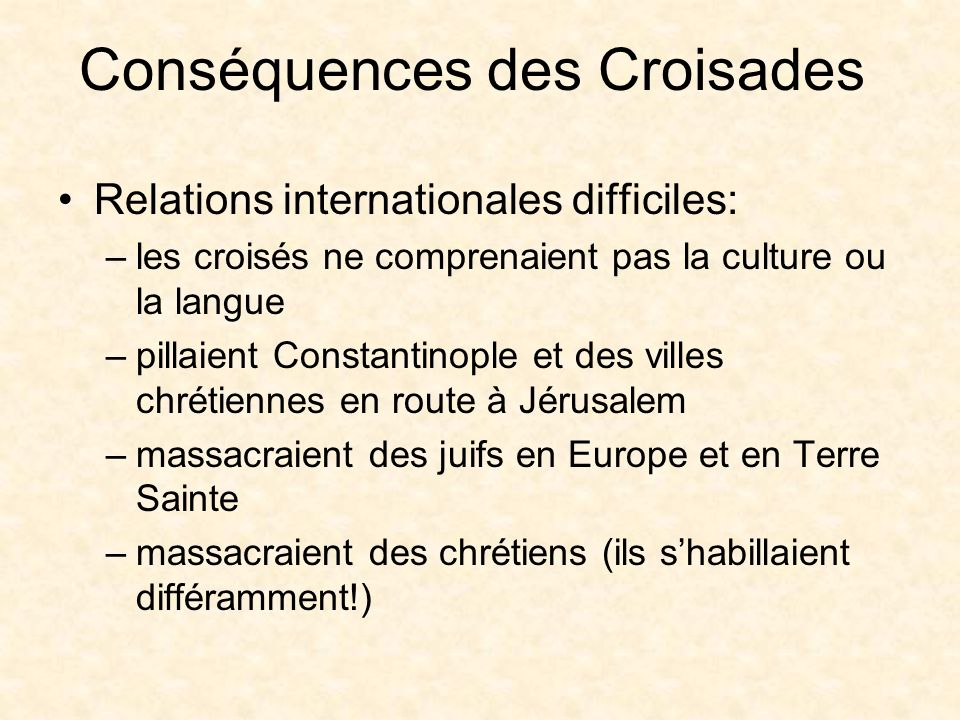 Conséquences des Croisades