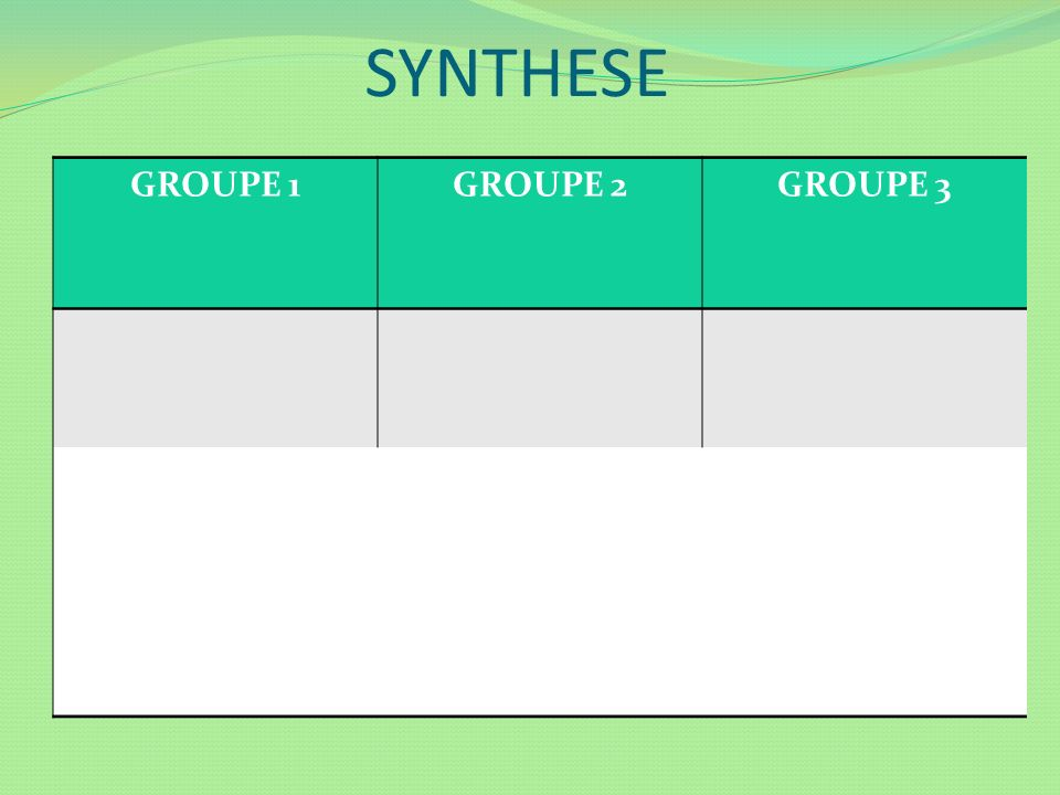 SYNTHESE GROUPE 1 GROUPE 2 GROUPE 3