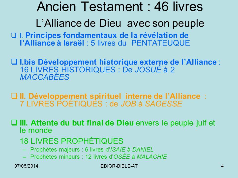 Ancien Testament : 46 livres L'Alliance de Dieu avec son peuple