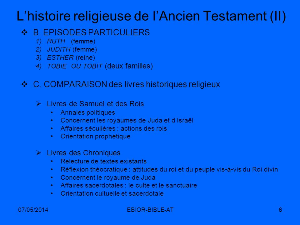 L'histoire religieuse de l'Ancien Testament (II)