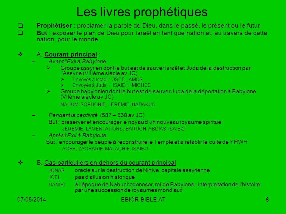 Les livres prophétiques