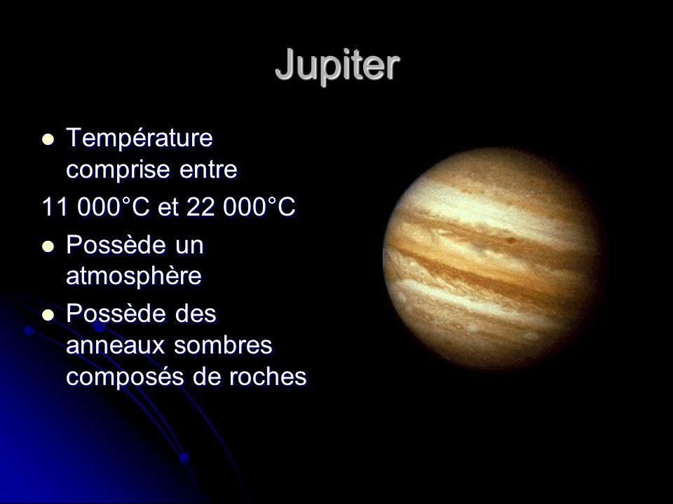 Jupiter Température comprise entre 11 000°C et 22 000°C