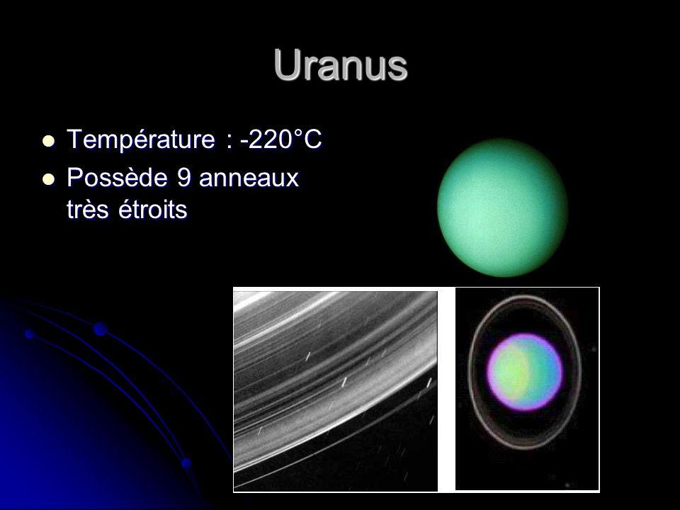 Uranus Température : -220°C Possède 9 anneaux très étroits