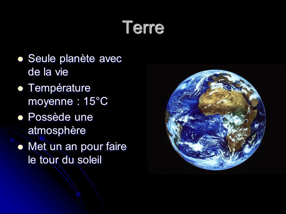 Terre Seule planète avec de la vie Température moyenne : 15°C