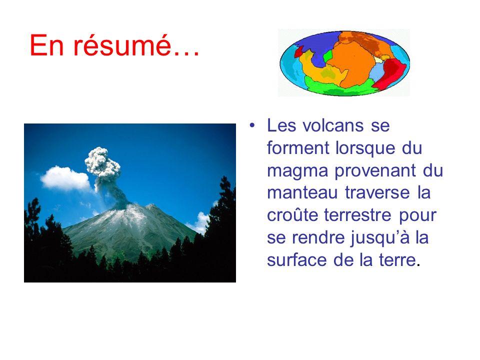 En résumé…Les volcans se forment lorsque du magma provenant du manteau traverse la croûte terrestre pour se rendre jusqu'à la surface de la terre.
