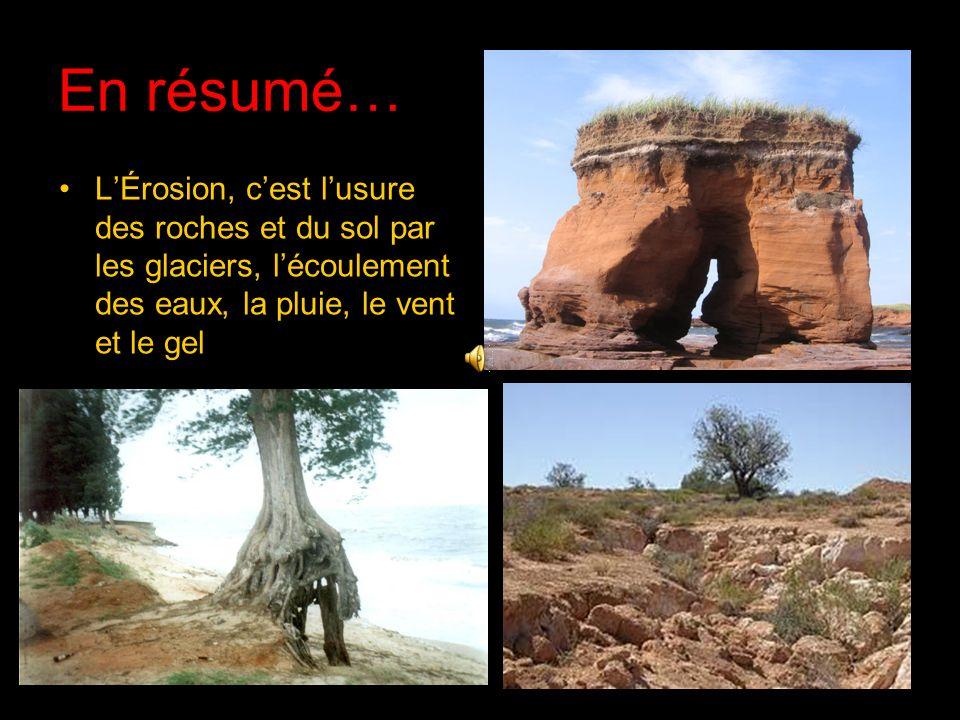 En résumé…L'Érosion, c'est l'usure des roches et du sol par les glaciers, l'écoulement des eaux, la pluie, le vent et le gel.