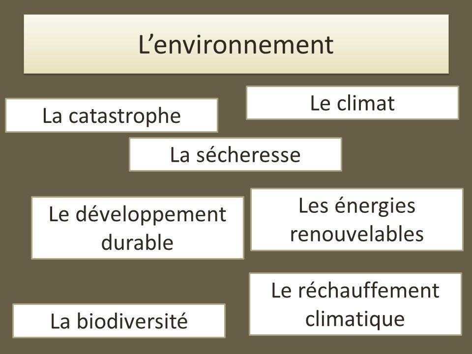 L'environnement Le climat La catastrophe La sécheresse