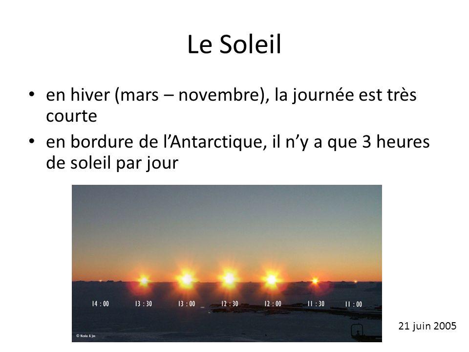 Le Soleil en hiver (mars – novembre), la journée est très courte