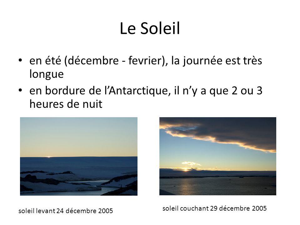 Le Soleil en été (décembre - fevrier), la journée est très longue