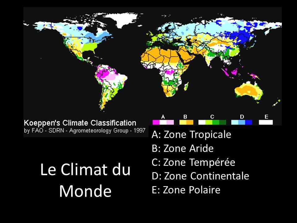 Le Climat du Monde A: Zone Tropicale B: Zone Aride C: Zone Tempérée