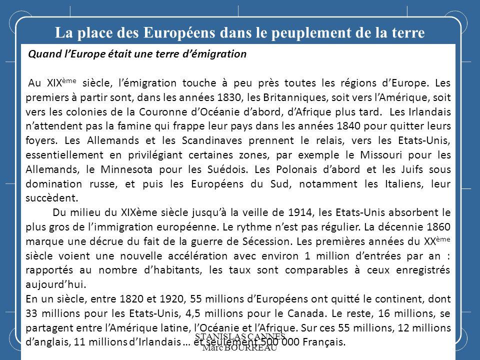 La place des Européens dans le peuplement de la terre