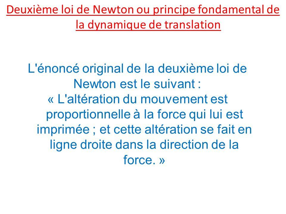 L énoncé original de la deuxième loi de Newton est le suivant :