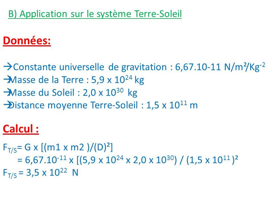 Données: Calcul : B) Application sur le système Terre-Soleil
