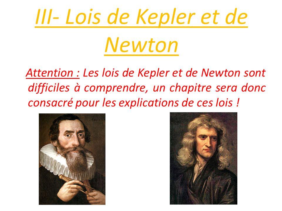 III- Lois de Kepler et de Newton