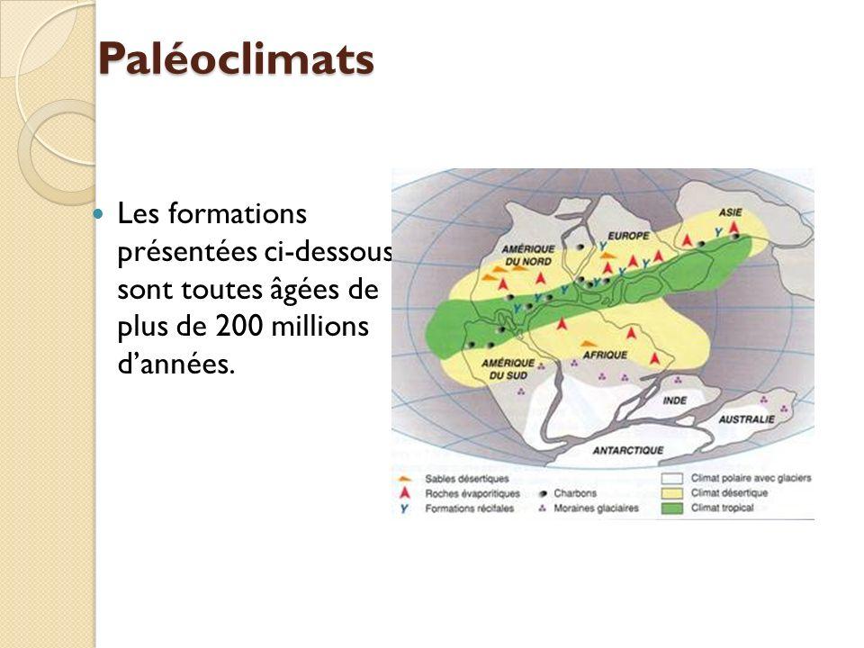 Paléoclimats Les formations présentées ci-dessous sont toutes âgées de plus de 200 millions d'années.