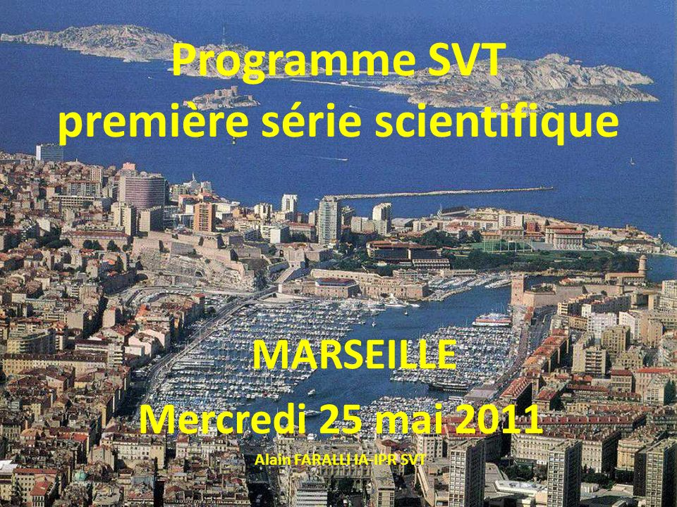 première série scientifique Alain FARALLI IA-IPR SVT