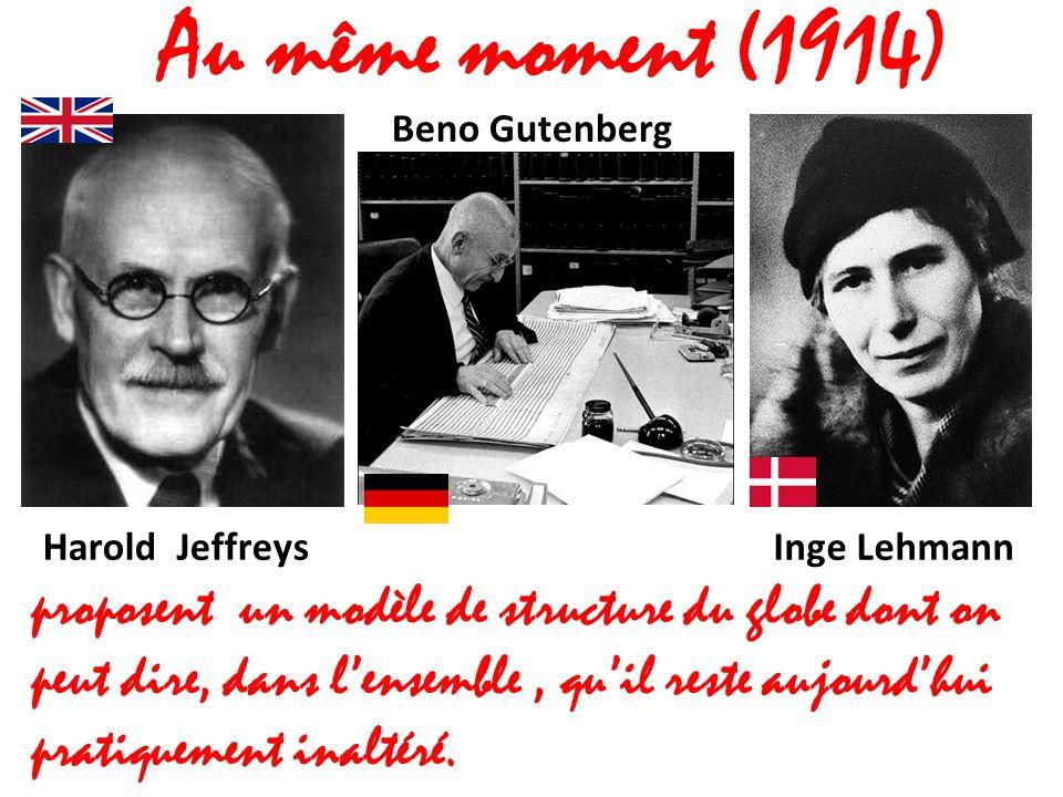 Au même moment (1914) Harold Jeffreys. Beno Gutenberg. Inge Lehmann.