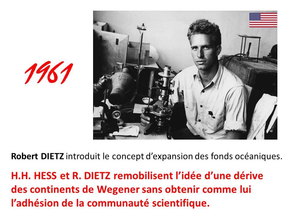 1961 Robert DIETZ introduit le concept d'expansion des fonds océaniques.