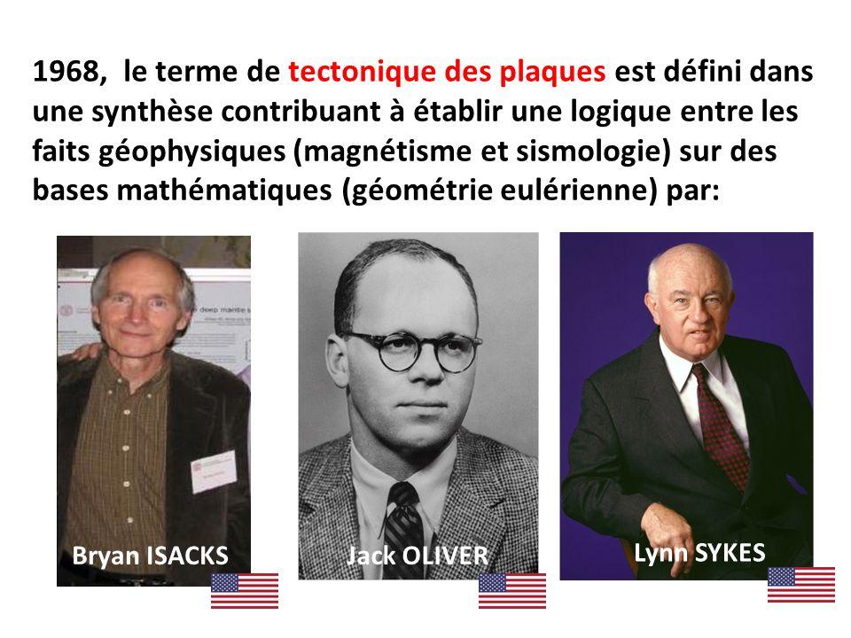 1968, le terme de tectonique des plaques est défini dans une synthèse contribuant à établir une logique entre les faits géophysiques (magnétisme et sismologie) sur des bases mathématiques (géométrie eulérienne) par: