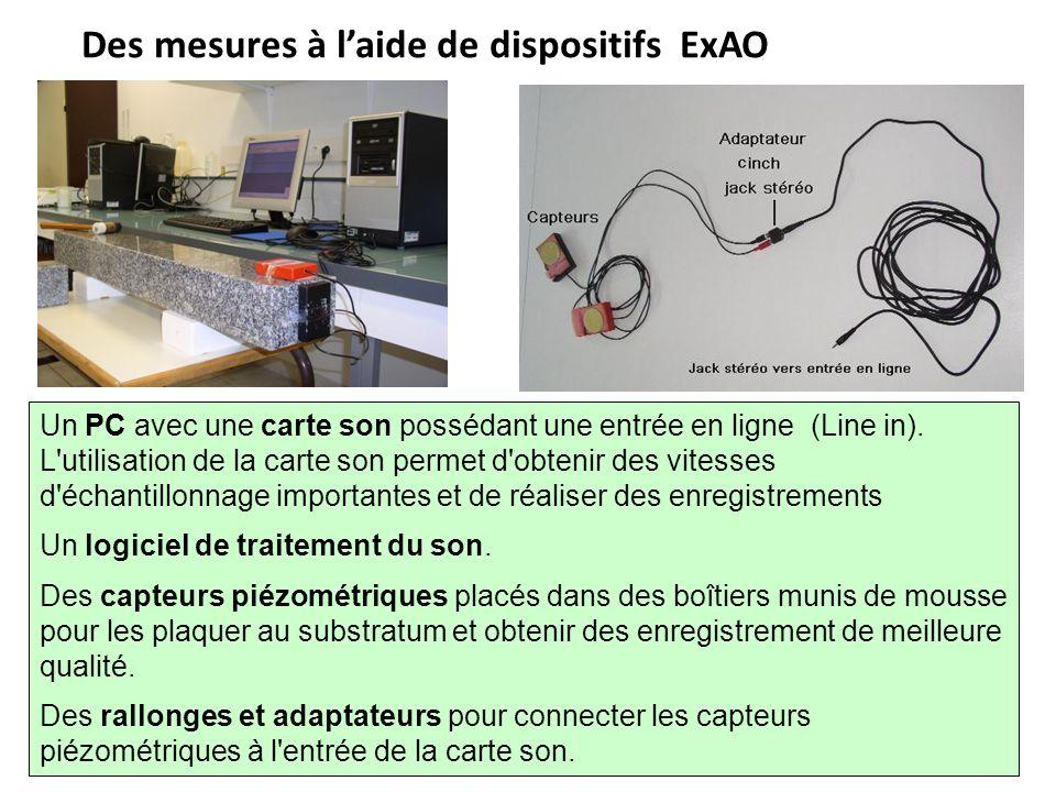 Des mesures à l'aide de dispositifs ExAO