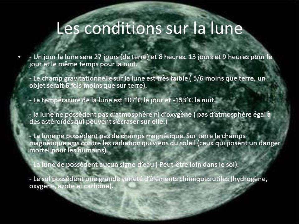 Les conditions sur la lune