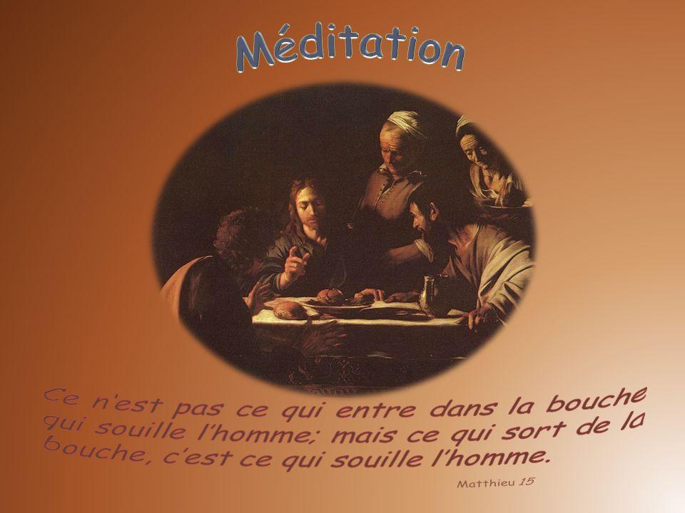 Méditation Ce n'est pas ce qui entre dans la bouche qui souille l'homme; mais ce qui sort de la bouche, c'est ce qui souille l'homme.