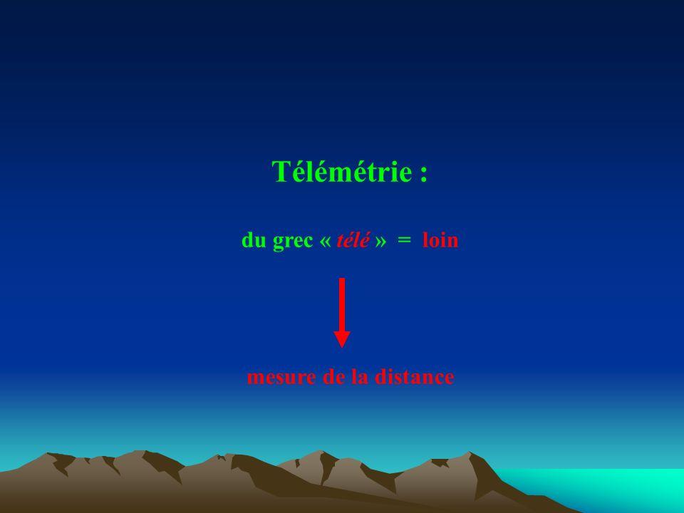 Télémétrie : du grec « télé » = loin mesure de la distance