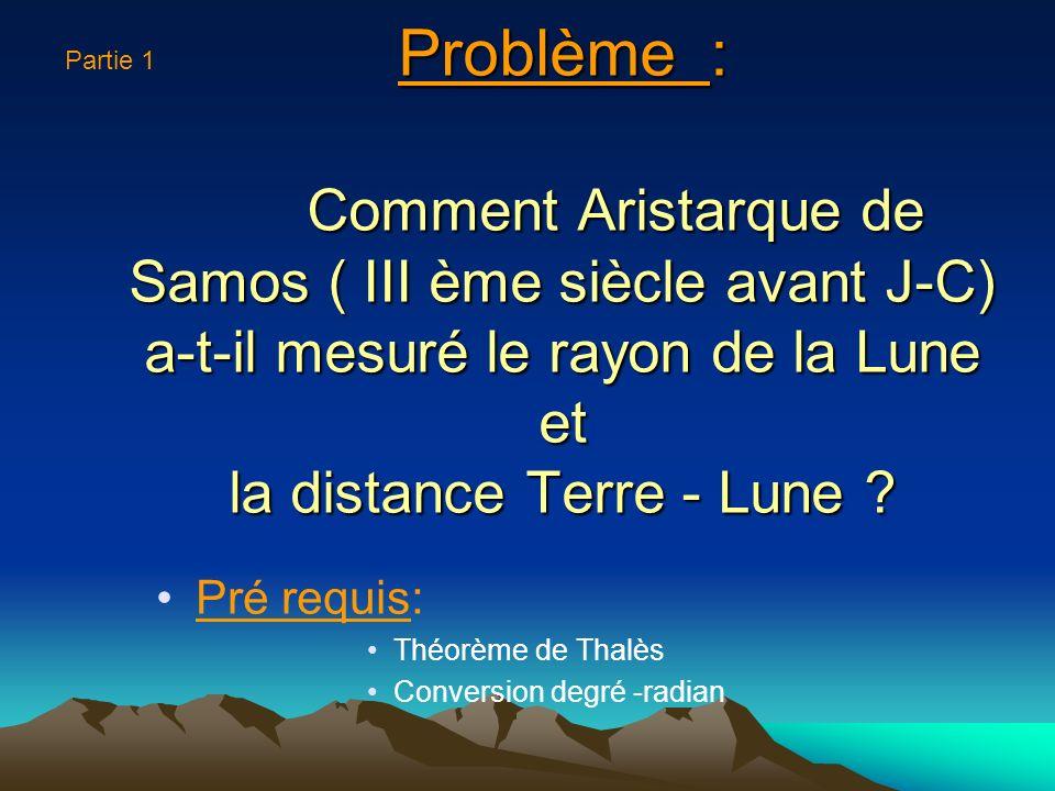 Partie 1 Problème : Comment Aristarque de Samos ( III ème siècle avant J-C) a-t-il mesuré le rayon de la Lune et la distance Terre - Lune