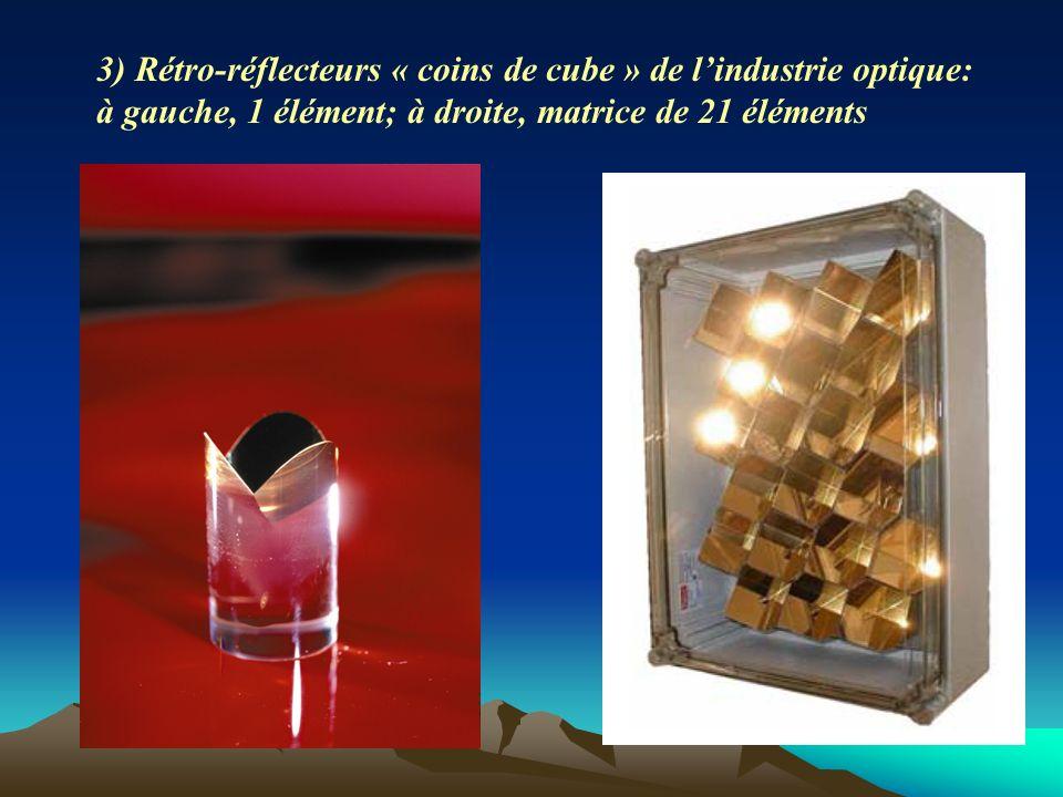 3) Rétro-réflecteurs « coins de cube » de l'industrie optique: