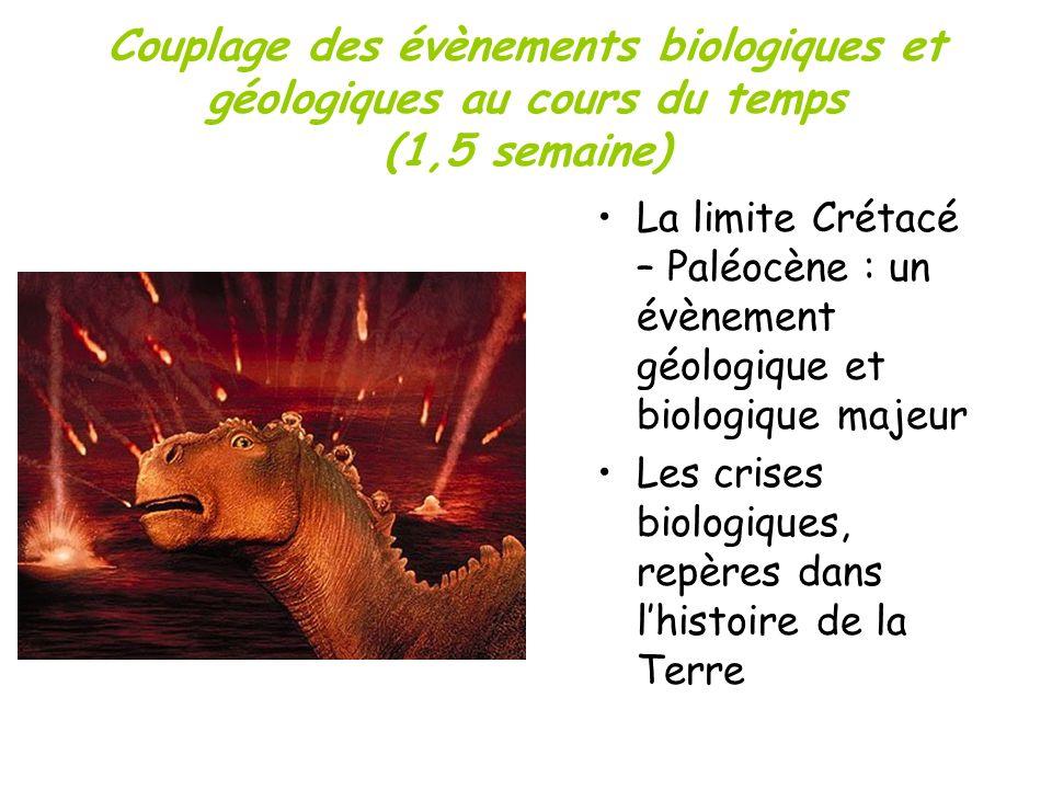 Couplage des évènements biologiques et géologiques au cours du temps (1,5 semaine)