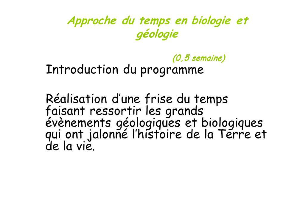 Approche du temps en biologie et géologie (0,5 semaine)