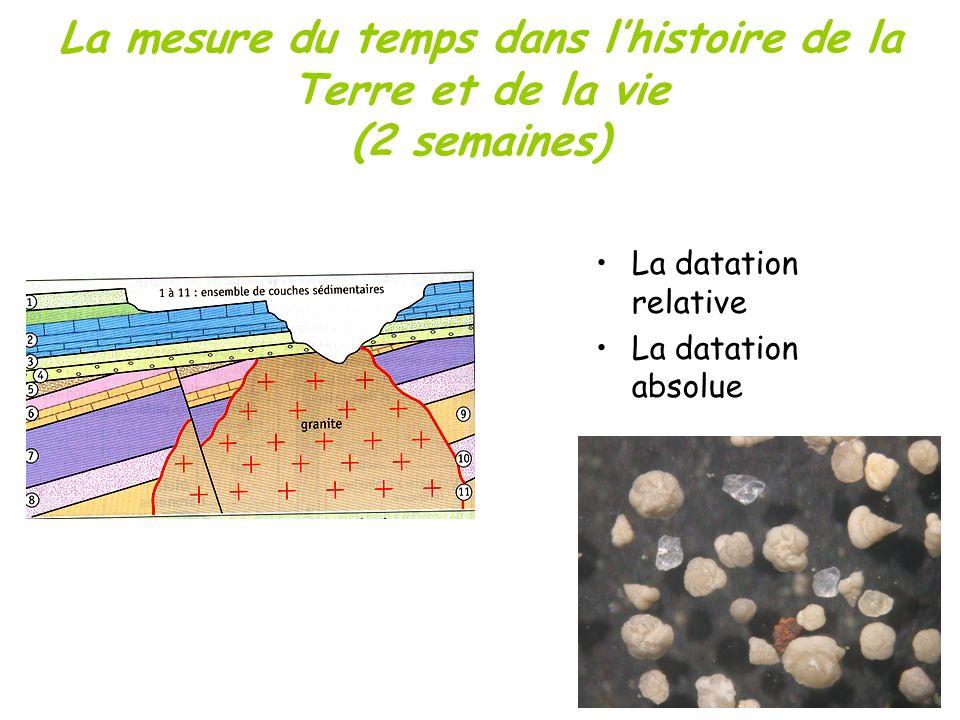 La mesure du temps dans l'histoire de la Terre et de la vie (2 semaines)
