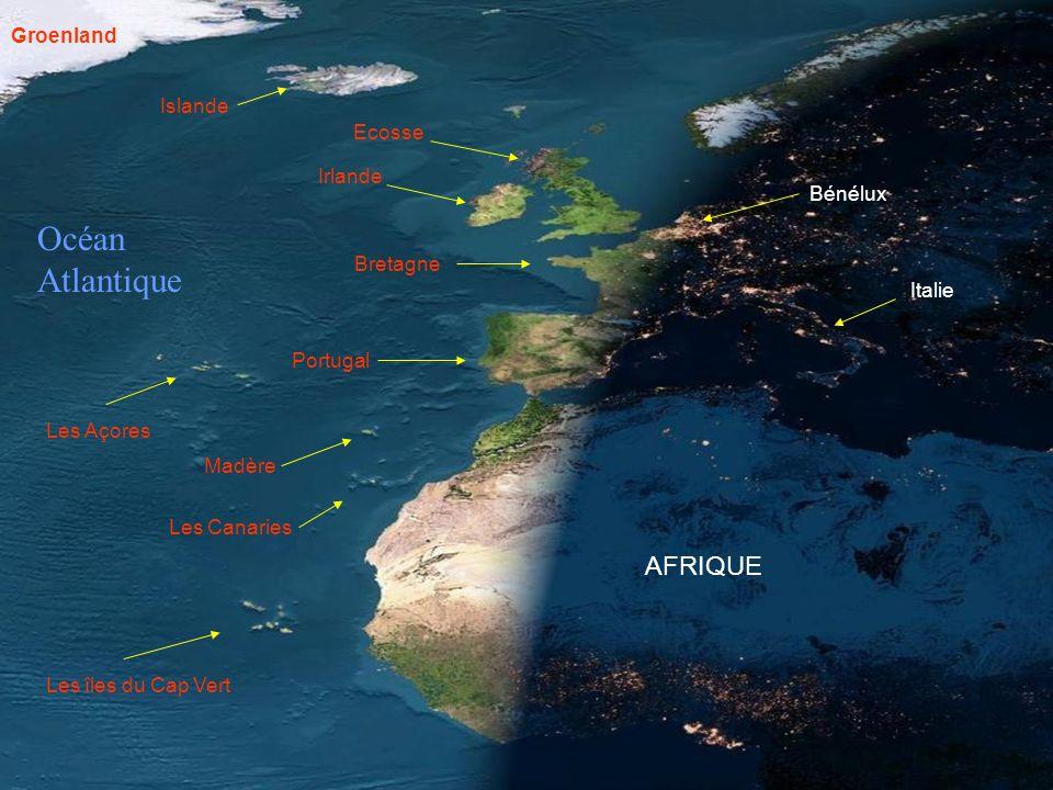 Océan Atlantique AFRIQUE Groenland Islande Ecosse Irlande Bénélux