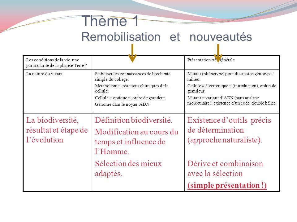 Thème 1 Remobilisation et nouveautés