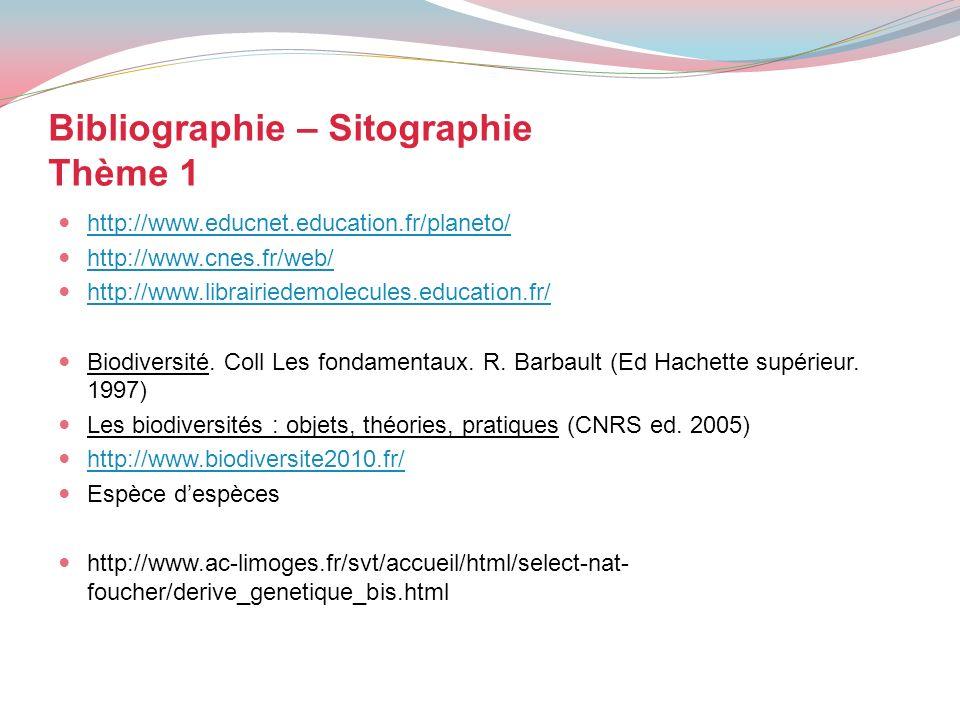 Bibliographie – Sitographie Thème 1