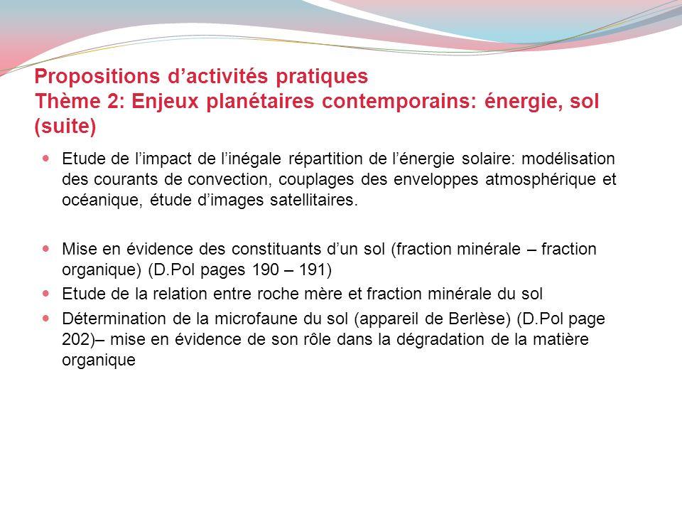 Propositions d'activités pratiques Thème 2: Enjeux planétaires contemporains: énergie, sol (suite)