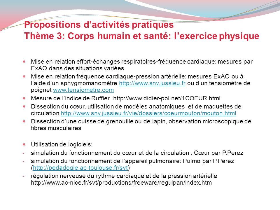 Propositions d'activités pratiques Thème 3: Corps humain et santé: l'exercice physique