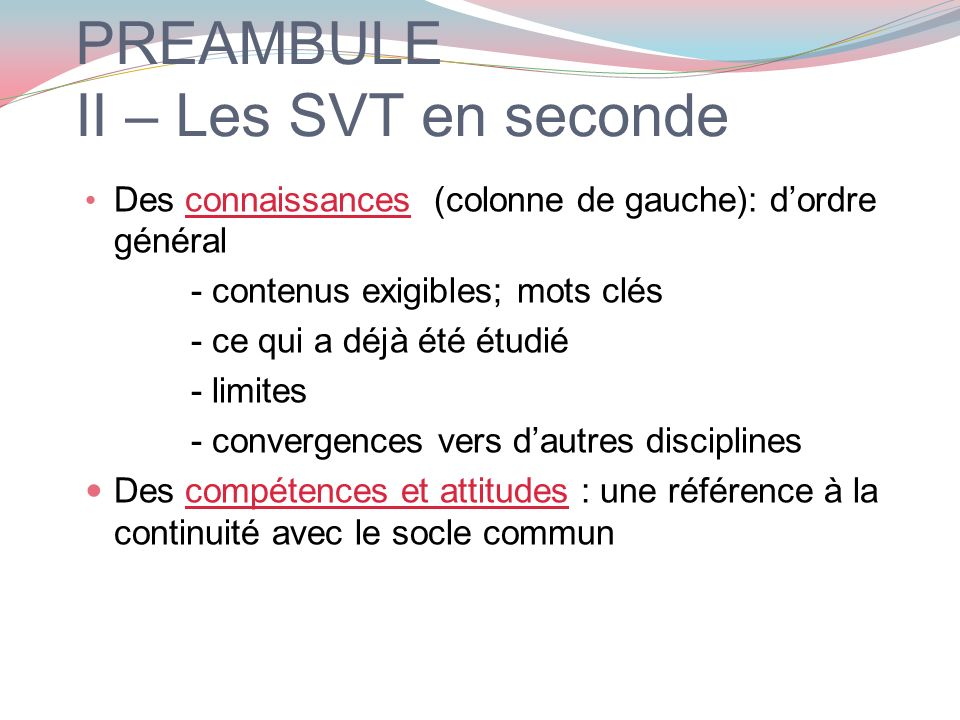 PREAMBULE II – Les SVT en seconde