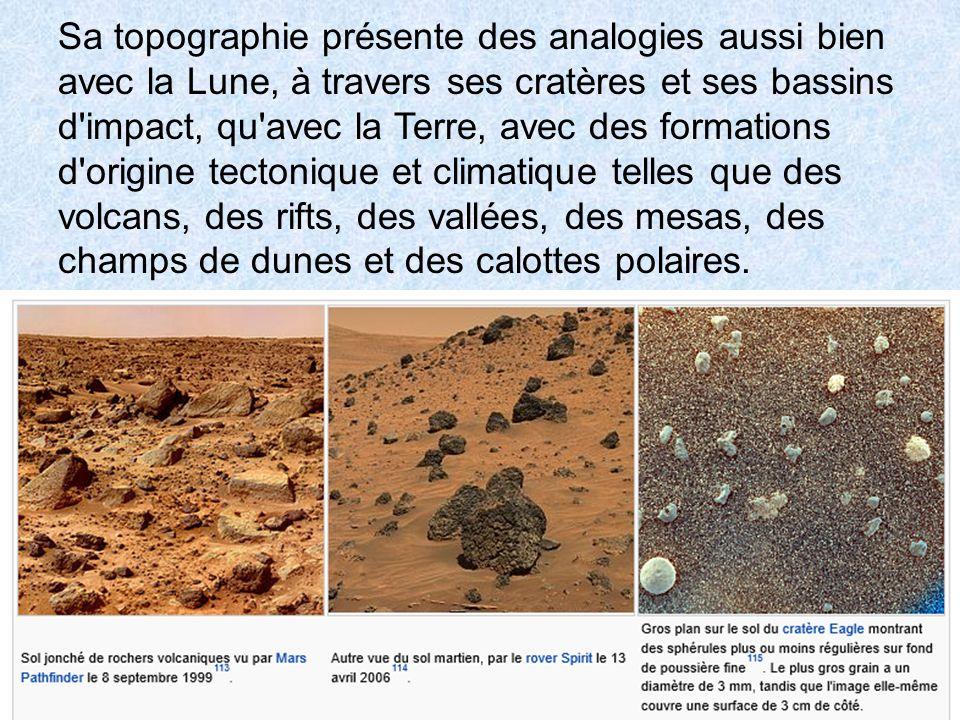 Sa topographie présente des analogies aussi bien avec la Lune, à travers ses cratères et ses bassins d impact, qu avec la Terre, avec des formations d origine tectonique et climatique telles que des volcans, des rifts, des vallées, des mesas, des champs de dunes et des calottes polaires.
