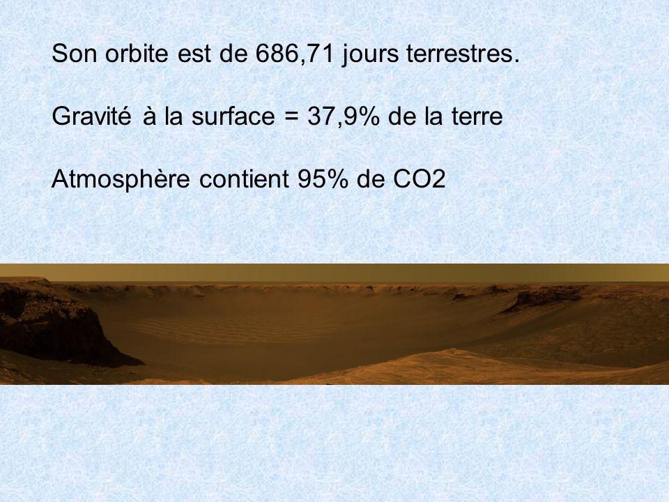 Son orbite est de 686,71 jours terrestres.