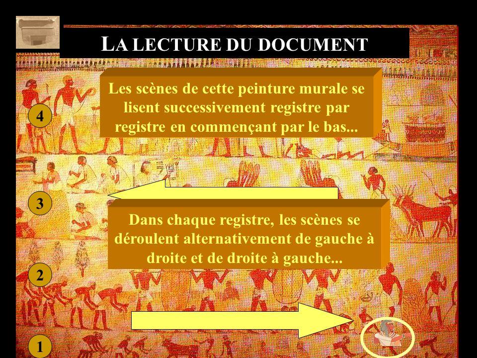 LA LECTURE DU DOCUMENT Les scènes de cette peinture murale se lisent successivement registre par registre en commençant par le bas...