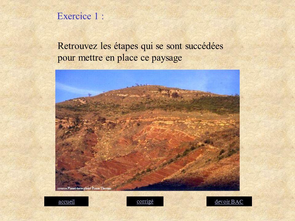 Exercice 1 : Retrouvez les étapes qui se sont succédées pour mettre en place ce paysage. source Planet-terre photo Pierre Thomas.