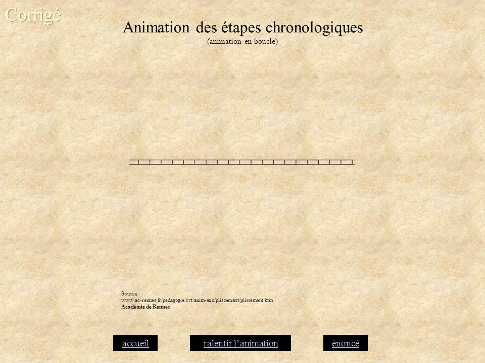 Animation des étapes chronologiques (animation en boucle)