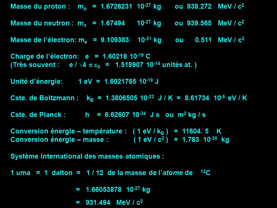 Masse du proton : mp = 1.6726231 10-27 kg ou 938.272 MeV / c2