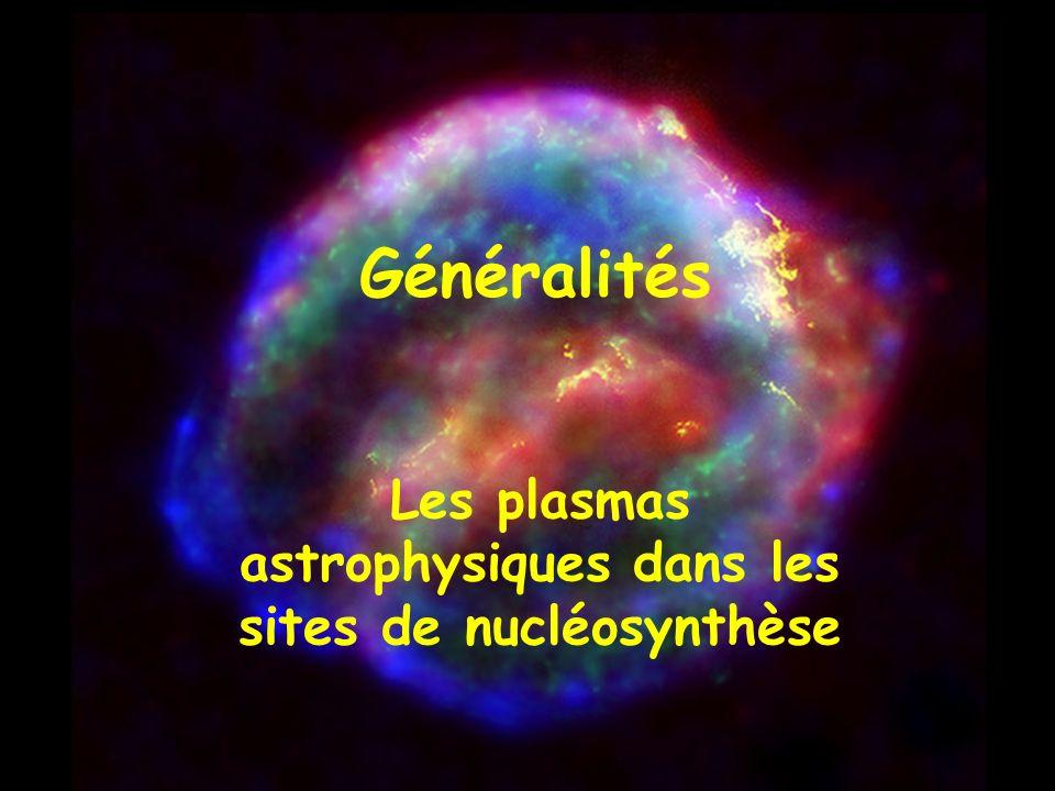 Les plasmas astrophysiques dans les sites de nucléosynthèse