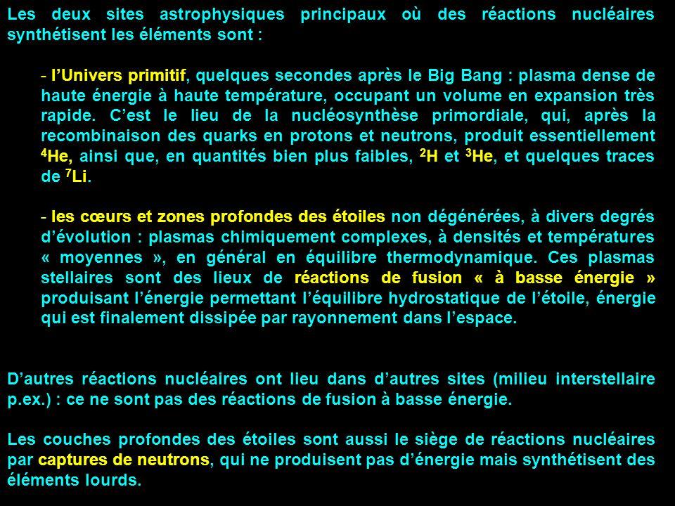 Les deux sites astrophysiques principaux où des réactions nucléaires synthétisent les éléments sont :