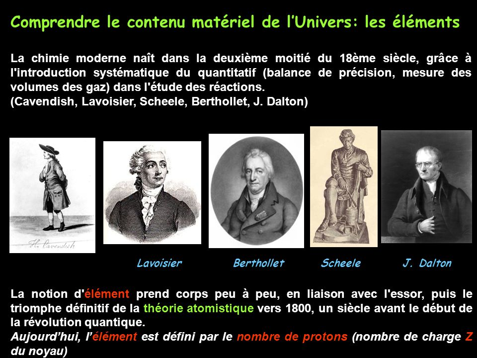 Comprendre le contenu matériel de l'Univers: les éléments