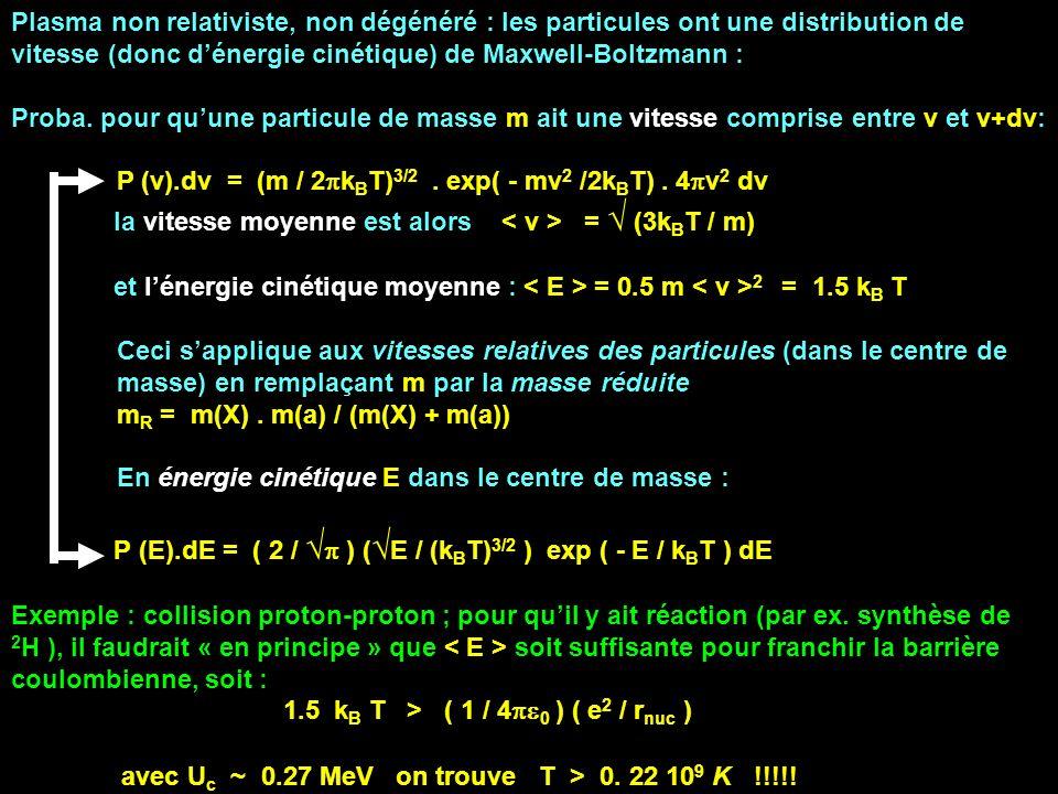 Plasma non relativiste, non dégénéré : les particules ont une distribution de vitesse (donc d'énergie cinétique) de Maxwell-Boltzmann :